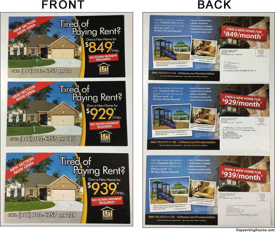Direct Mail Flyer Tired Of Paying Rent