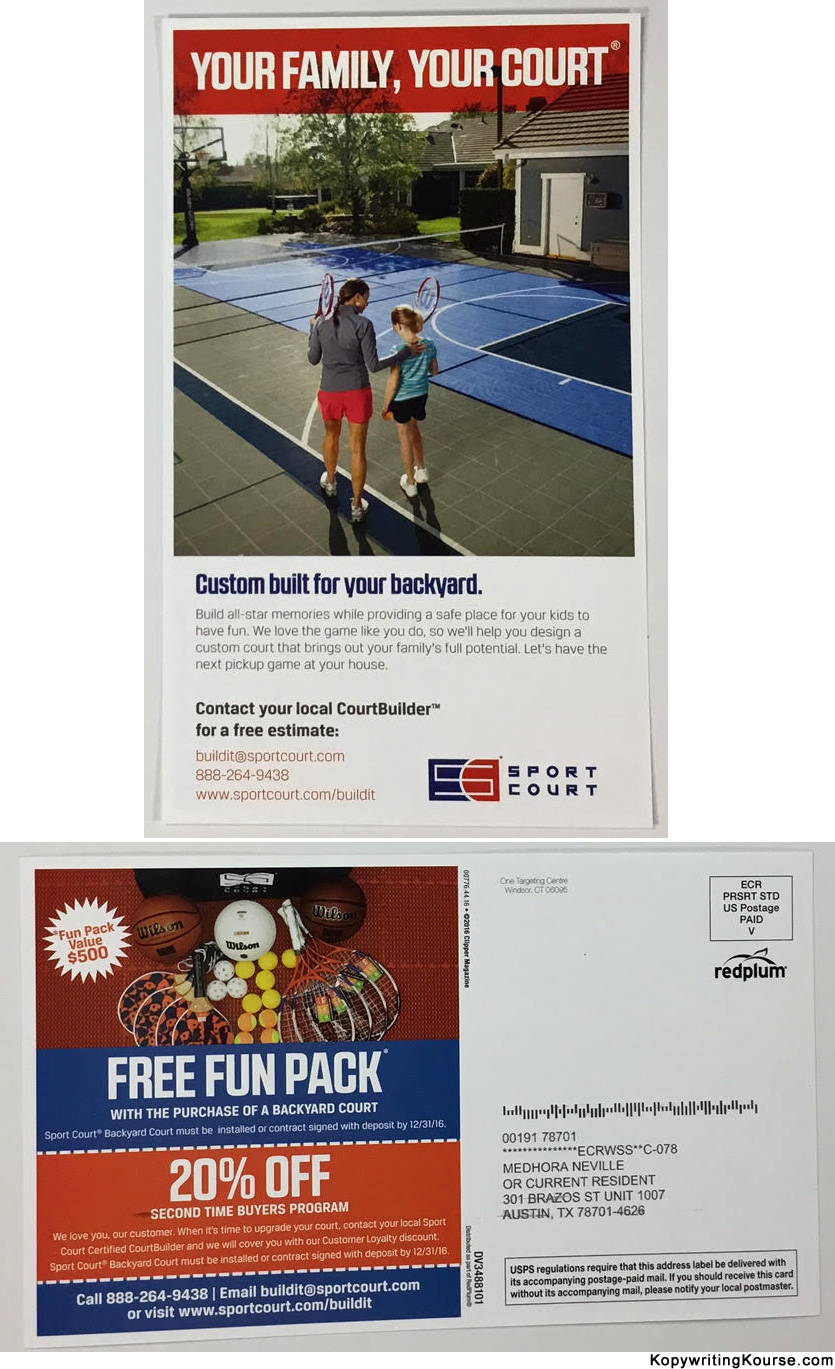 direct mail marketing guide and real life examples kopywriting direct mail flyer for custom courts