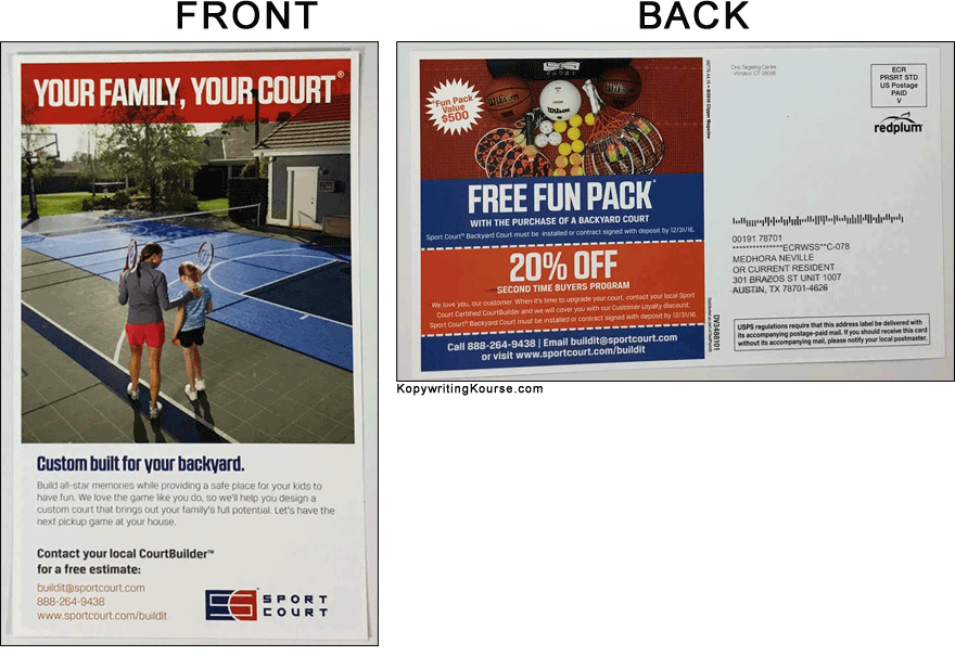 Direct mail flyer for custom courts