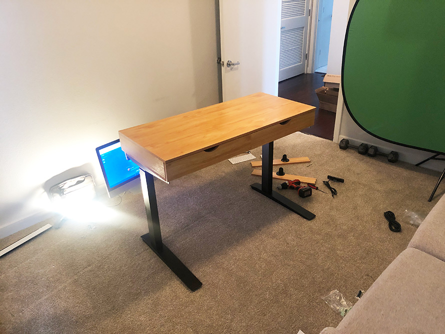 diy desk make standing frame add