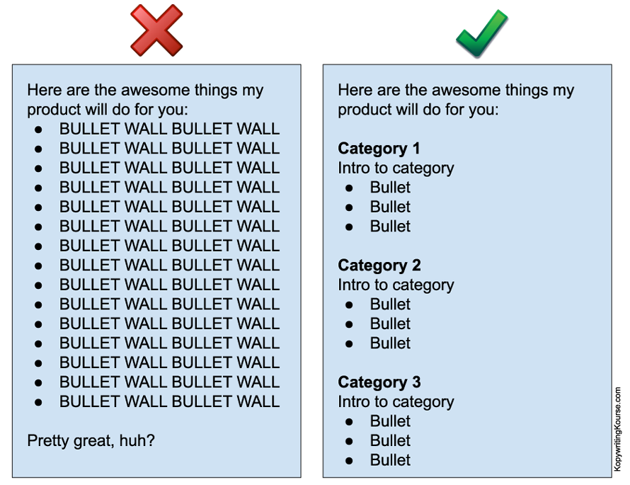 do not create wall of text bullet points