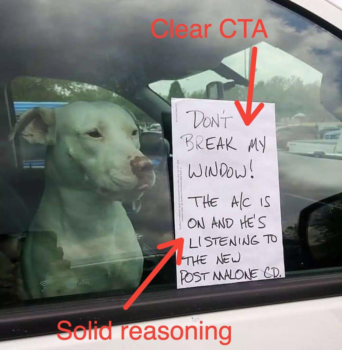 dog don't break the window note