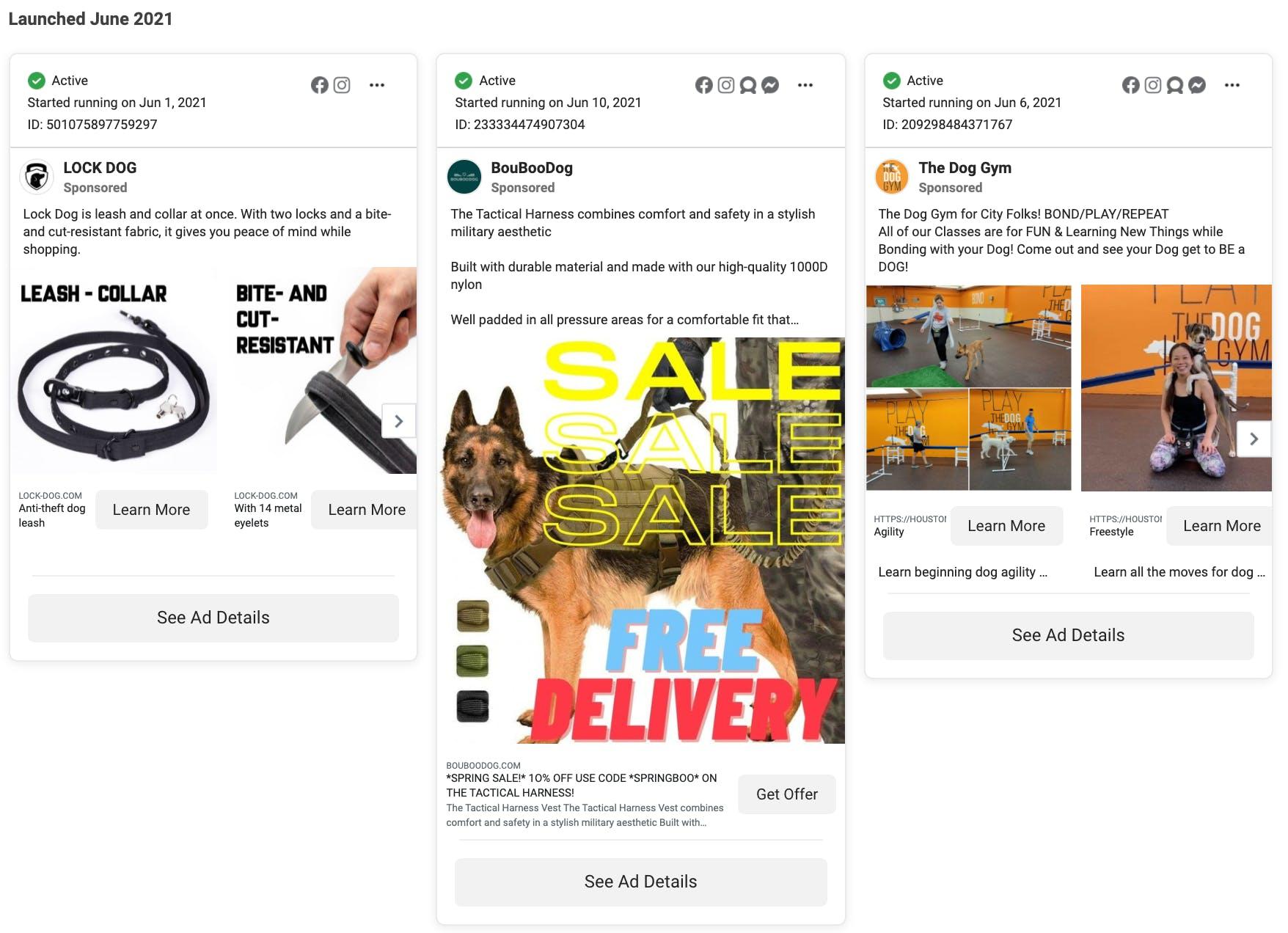 dog leashes facebook ads