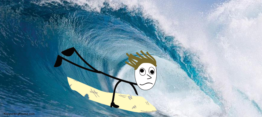 Incompetent surfer but big wave