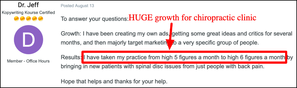 dr jeff chiropractor growth