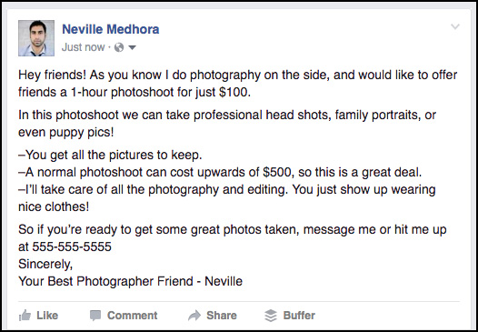 how to promote my photography business on facebook