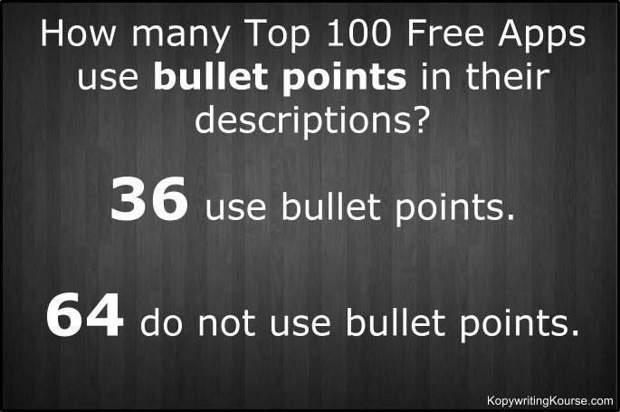 Free apps bullet point usage