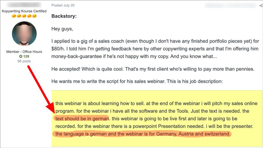 German copywriting assignment