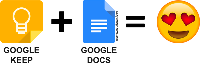 Google Keep and Google Docs together