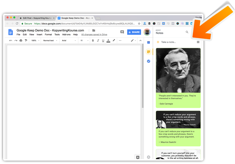 google keep on a google doc