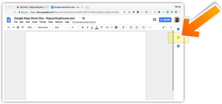 google keep on google docs drawer