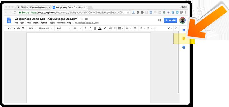 google keep on google docs drawer