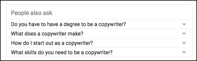 google results on copywriter