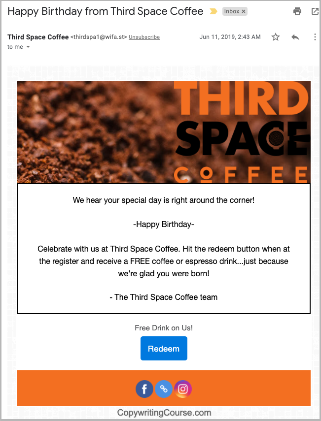 happy birthday free coffee