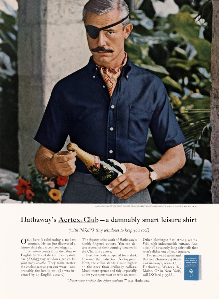 hathaway shirt ad champagne