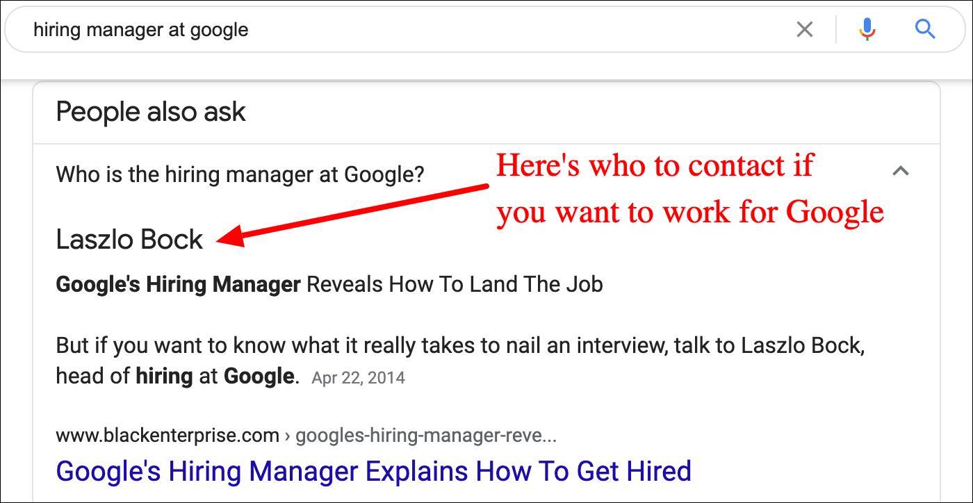 hiring manager at google