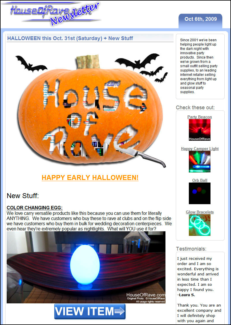 HouseOfRave Email Newsletter Example