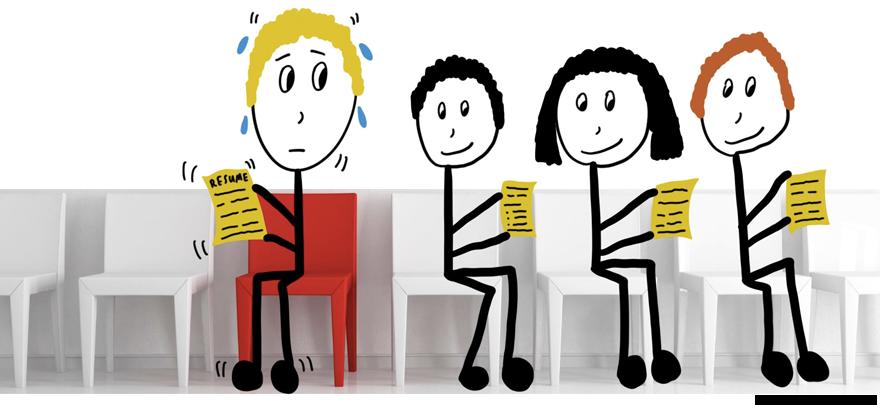 Job interview stick figure nervous