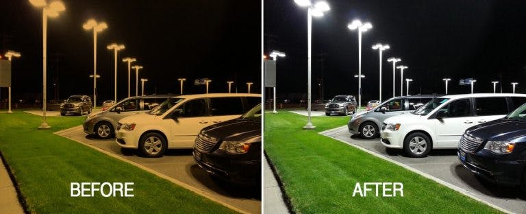 Led lighting before and after