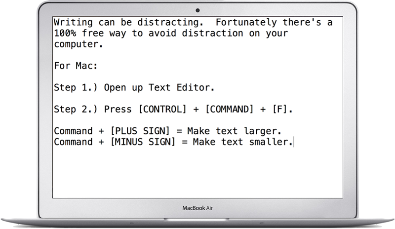 Mac Distraction Free Writing Trick