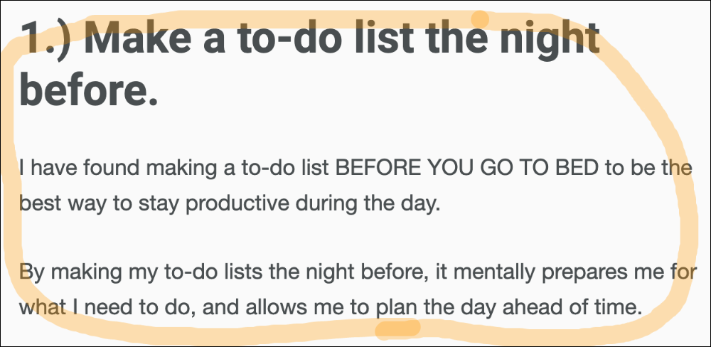 make a to do list snippet