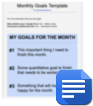 monthly goals template planner download