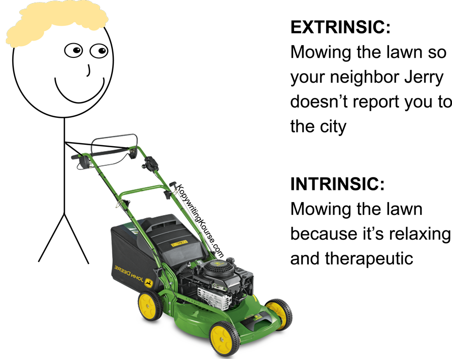 mowing a lawn