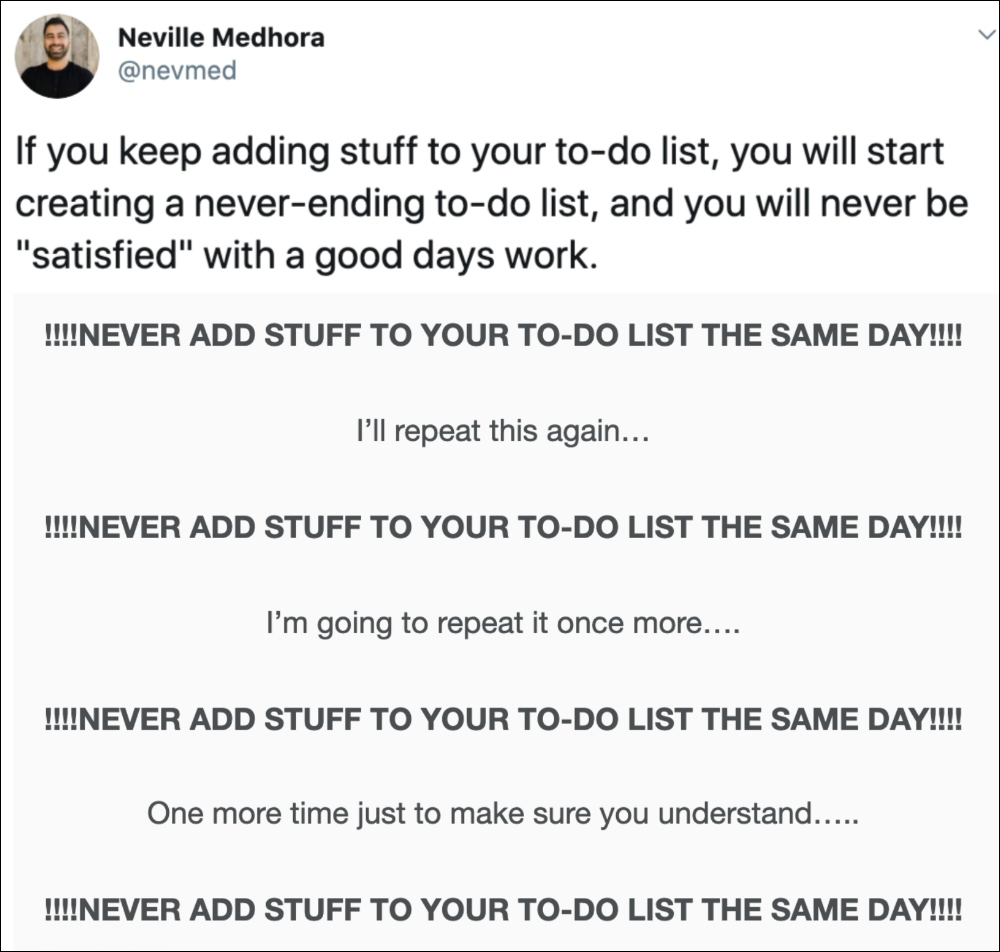 never add stuff to do list twitter