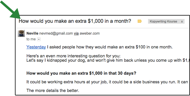 Personal email headline example