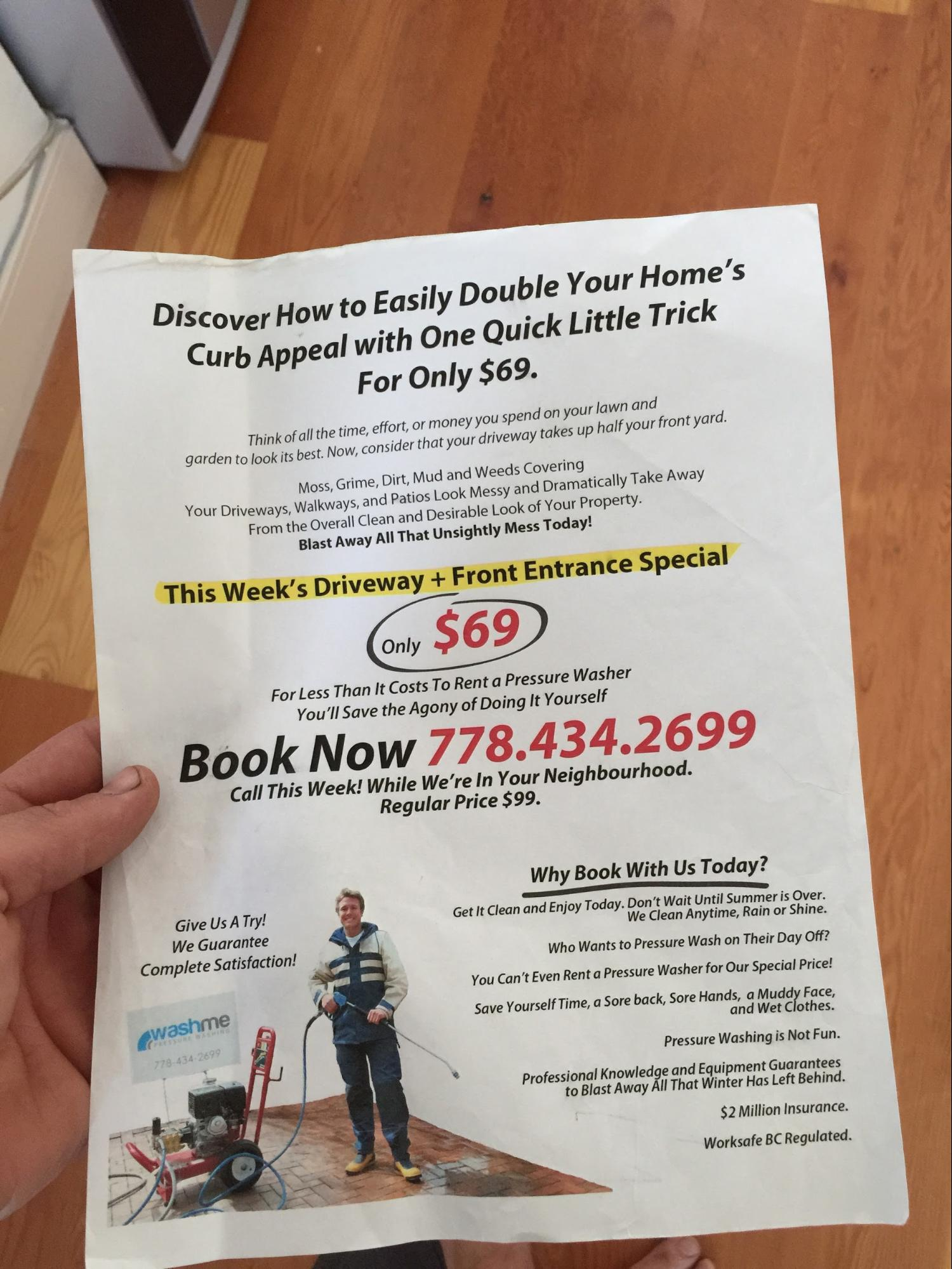 powerwashing flyers took business from <title> powerwashing the flyers that did really well look ugly but they seem personal genuine and offer a real benefit to the reader