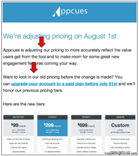 price increase example
