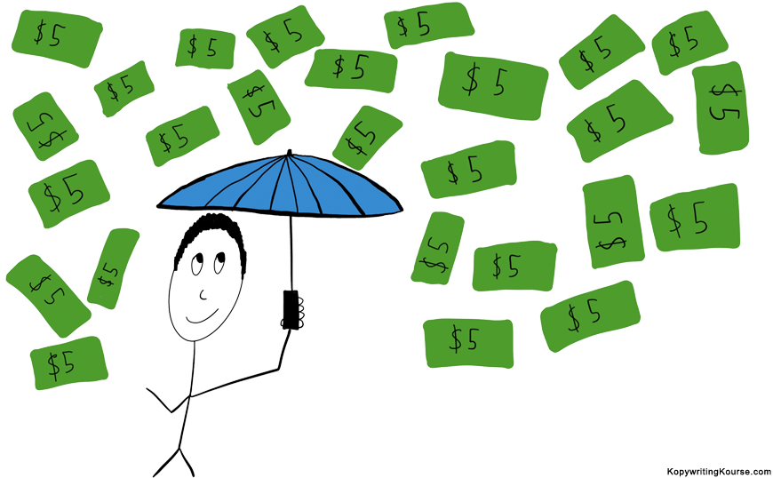 Raining dollar bills