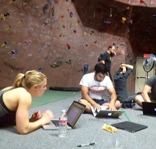 rock climbing co-working party