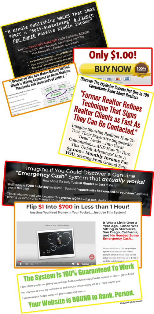 scammy sales pages and hardsells