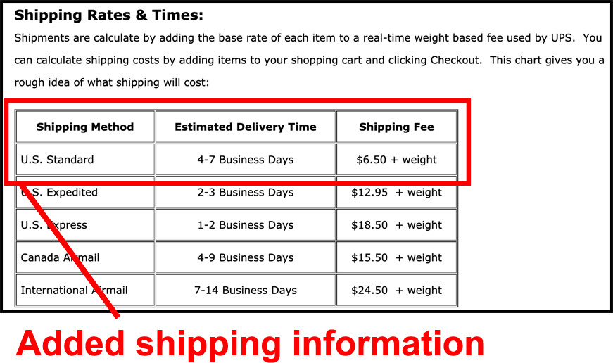 shipping rates houseofrave add