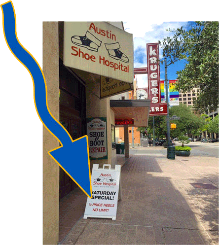 Shoe hospital sandwich board sign