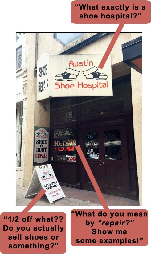 Shoe hospital wrong advertising
