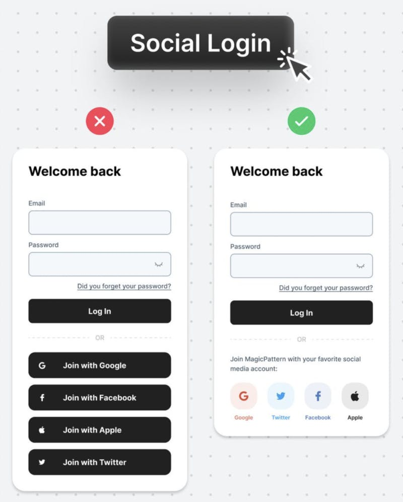 ui social login before and after