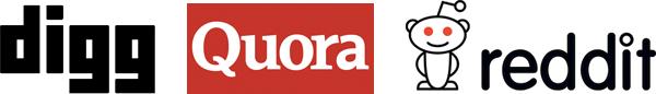 Digg, Quora, and Reddit logos