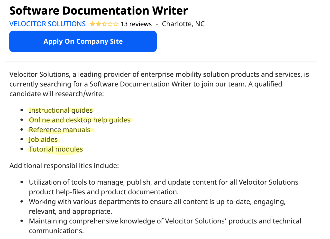 software documentation writer