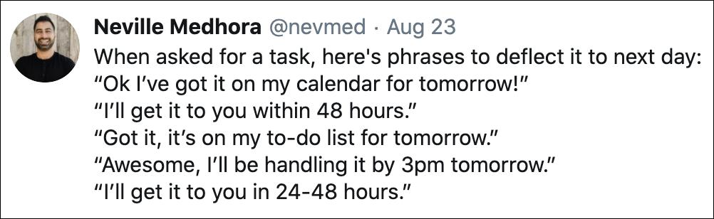 specific examples tweet