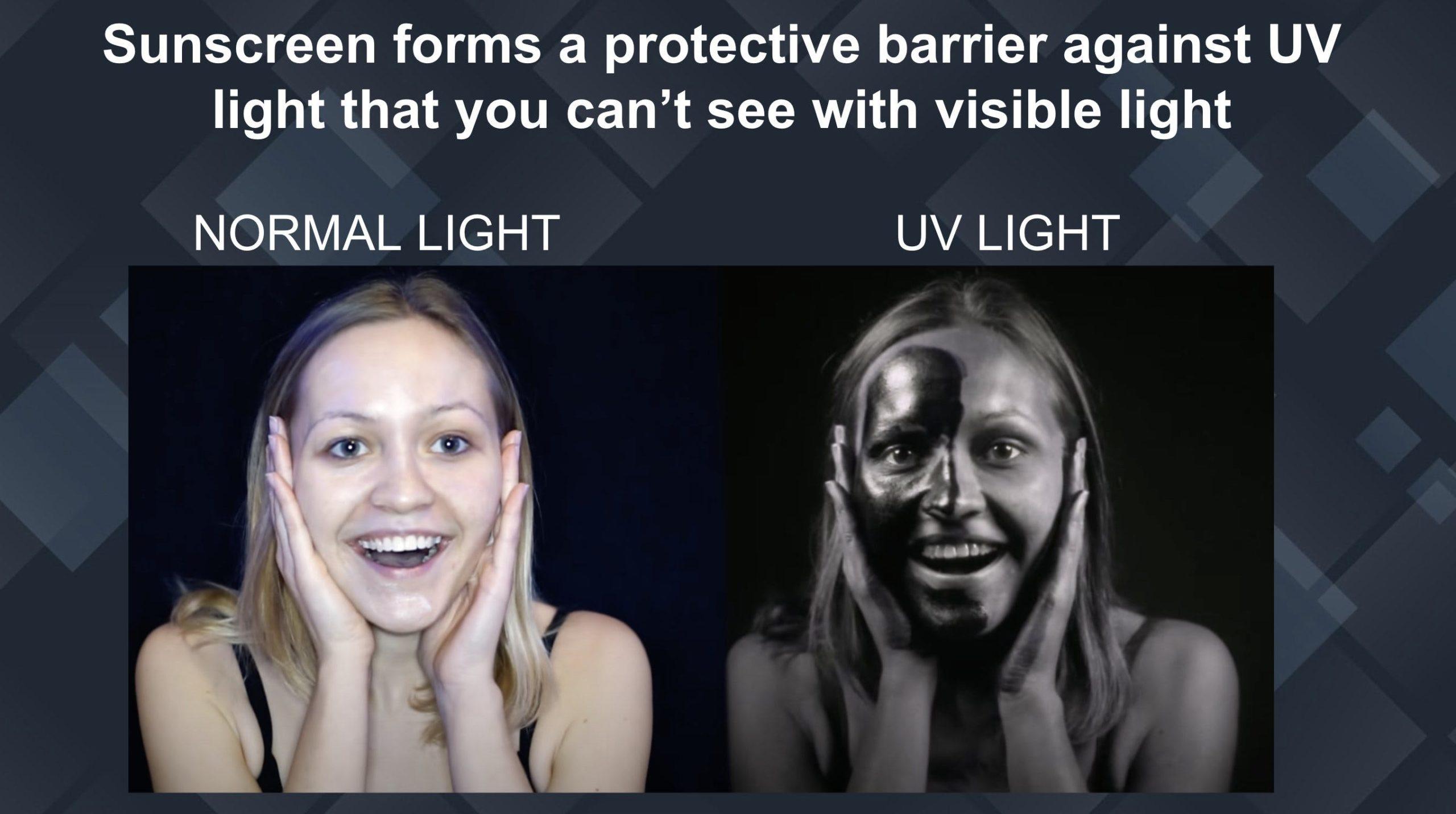 sunscreen under uv light