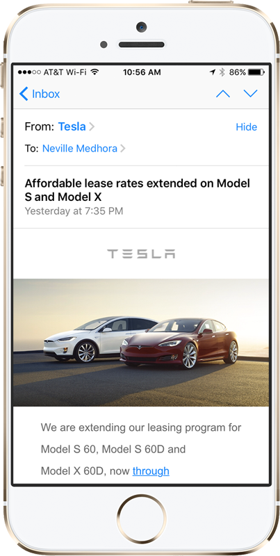 Tesla newsletter on mobile iphone