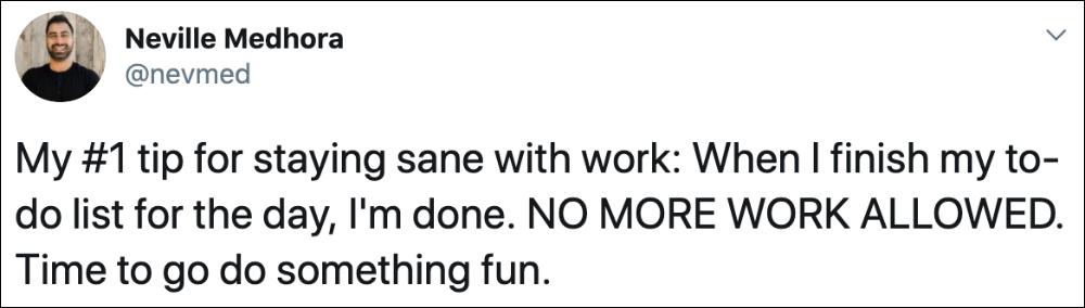 tip stay sane with work tweet