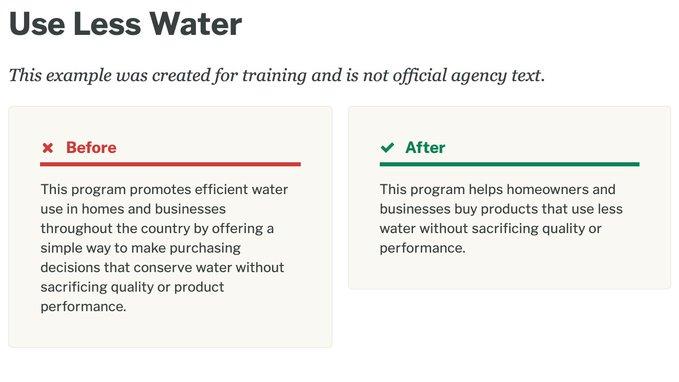 use less water plain english