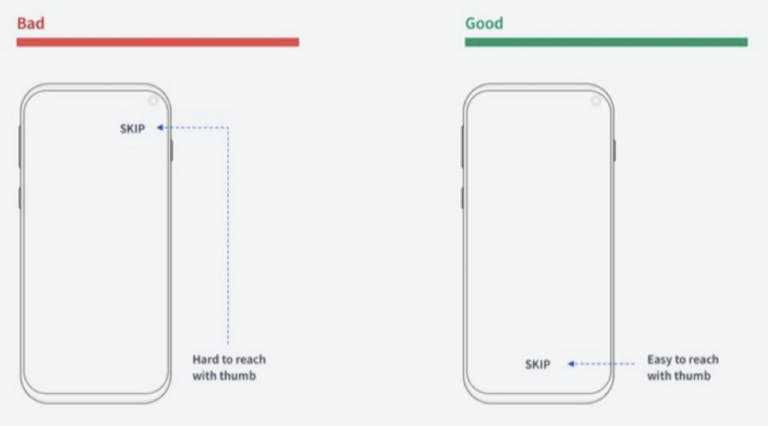 ux thumb placement before and after