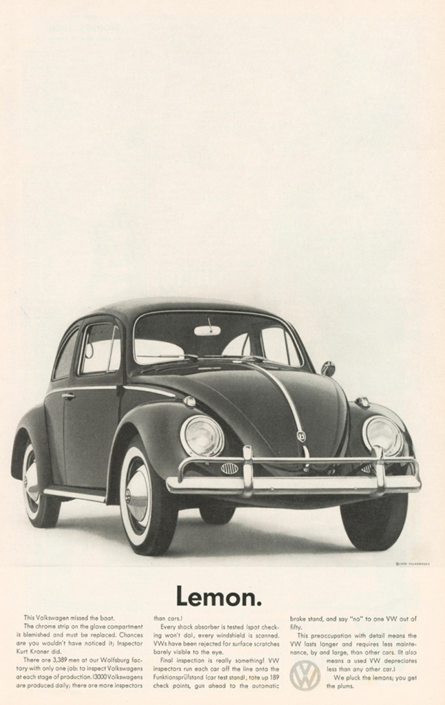volkswagen lemon bug dbb agency writing