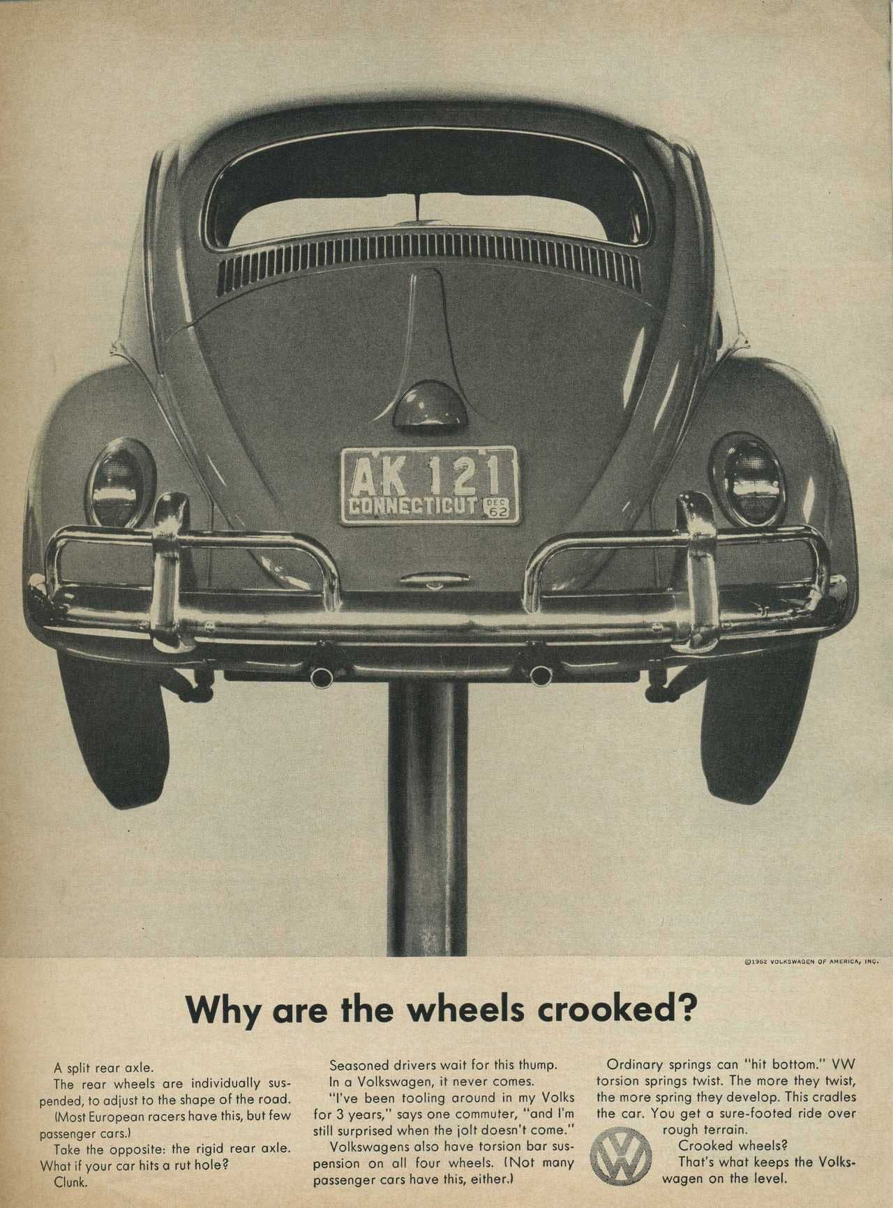 vw why are the wheels crooked print ad