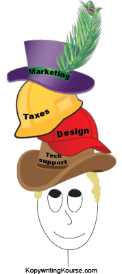 wearing lots of hats